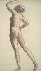 """Study for figure of 8 am in """"The Hours"""" celing at the state capitol building in Harrisburg, Pennsylvania"""