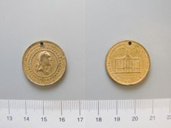 Gilt white metal medal of George Washington commemorating the centennial of his inauguration