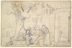 Abraham Entertaining the Angels (recto); Woman Standing and Study of a Head (verso)