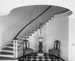 "Photograph of foyer of Katherine S. Dreier's West Redding home, ""The Haven,"" with Constantin Brancusi's Yellow Bird [YUAG 1952.30.1]"