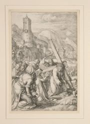 Christ Carrying the Cross, #9 in  from The Passion, a series of 12 engravings