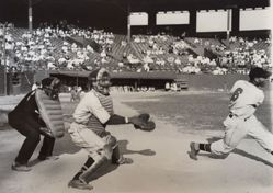 During a game at Randall's Island, New York
