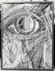 "Photograph of David Burliuk's ""Eye of God,"" 1923-25 [YUAG 1941.378]-- from Katherine S. Dreier's private collection"