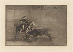 Valor varonil de la célebre Pajuelera en la de Zaragoza (Manly Courage of the Celebrated Pajuelera in [the ring] at Saragossa), Plate 22 from La tauromaquia