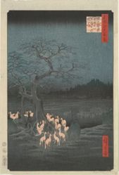 New Year's Eve, Fox Fires by the Nettle Tree at Oji, from the series One Hundred Famous Views of Edo