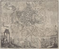 La pianta grande di Roma (The Large Plan of Rome), after Giovanni Battista Nolli (Italian, 1701–1756) and Giovanni Paolo Panini (Italian, 1691–1765), also known as The Nolli Map