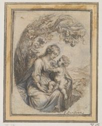 Madonna with Child Seated Beneath Tree