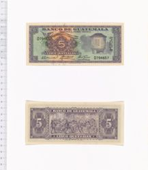 5 Quetzales of Banco de Guatemala from Guatemala