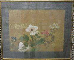 Peonies with Red, White, Blue Flowers