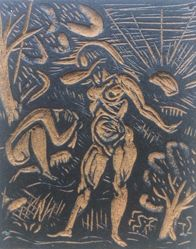 Linoleum block for Garden of Eden