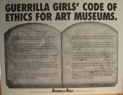 Guerrilla Girls' code of ethics for art museums, from the Guerrilla Girls' Compleat 1985-2008