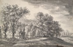 Trees and cottages in hilly landscape