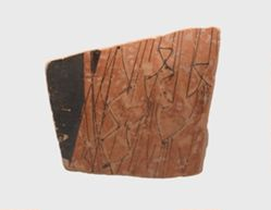 Athenian red-figure vase fragment, body of a figure wearing a chiton/himation