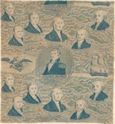 Textile Honoring the Frigate Constitution, Andrew Jackson, and the Presidents of the United States