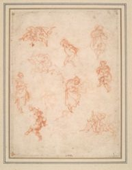 Figure Studies (recto); A Stage Set (verso)