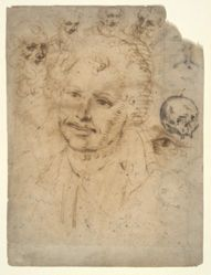 Recto: Studies of Faces; Verso: Drapery, from a sketchbook