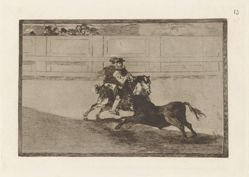 Un caballero español en plaza quebrando rejoncillos sin auxilio de los chulos (A Spanish Mounted Knight in the Ring Breaking Short Spears Without the Help of Assistants), Plate 13 from La tauromaquia