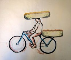 Untitled [Bicyclist carrying loads on his head and on rear of bicycle]