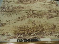 """Length of printed fabric, """"Hunting Scenes"""""""