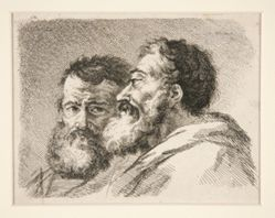 Untitled (Heads of two bearded men)