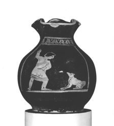 Red-Figure miniature Oinochoe (chous): Boy with Dog