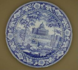 Plate with a view of Boston State House ( three cows in foreground; two trees )
