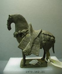 Horse with trappings