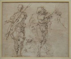 Two standing figures with instruments