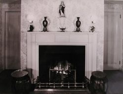 "Interior view of Katherine S. Dreier's West Redding home, ""The Haven"": fireplace with Chinese porcelains"