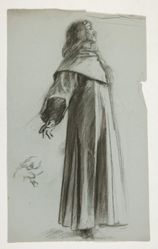 Figure study for King Arthur's Round Table (recto); Figure study for The Departure (verso), from The Quest of the Holy Grail (a series of fifteen paintings for the Boston Public Library, completed in 1901)