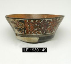 Round bottom bowl with flaring walls.