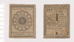 Continental one-third dollar bill