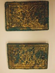 Pair of Belt Plaques with Rearing Horses Set Upon by Panthers