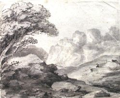 Mountain Landscape with Mist-Shrouded Ruins