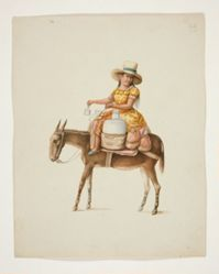 Woman on Mule Carrying Jars