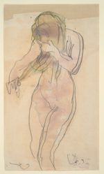 Study of nude (standing, combing her hair)