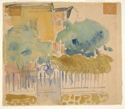 Maison de Campagne (recto); Sketch of Houses, Trees, Garden (verso)
