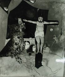 "Photograph of Heinrich Campendonk's ""Mystical Crucifixion,"" ca. 1920, oil on glass [MoMA] -- from Katherine S. Dreier's private collection"