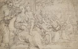 The Holy Family with Angels (recto); Madonna and Child (verso)