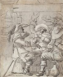 Men Playing Cards (recto); Inn Interior with Standing Man Smoking (verso)