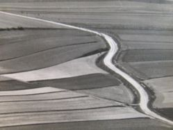 Abstract overhead view of tilled fields