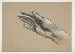Sketch of a hand (recto); Composition studies for a play (?) (verso)