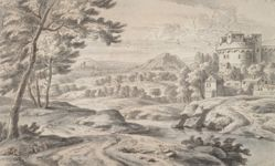 Italianate Landscape with Round Castle at Right