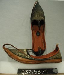 Pair of leather embroidered shoes
