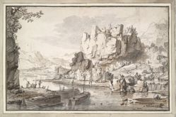 River with boats beside rocky cliffs
