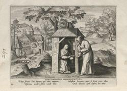 Hierosolymitana, one of 24 prints from the series Solitudo Sive Vitae Foeminarum Anachoritarum (Female Hermits in Landscapes)