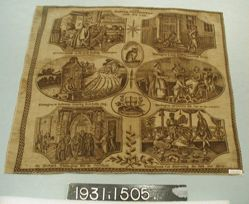 """Printed cotton handkerchief, """"The Famous Whitington and his Cat"""""""