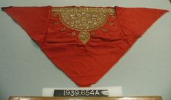 Three triangles of red satin embroidered in gold