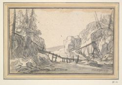 Mountainous Landscape with Wooden Footbridge