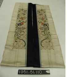 Pair of embroidered sleeve bands, satin